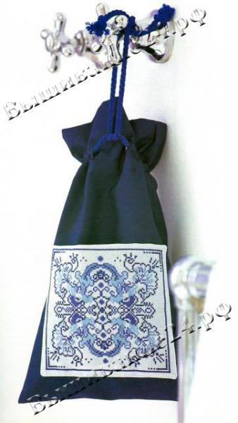 Схема вышивания крестом узор для мешочка гжель