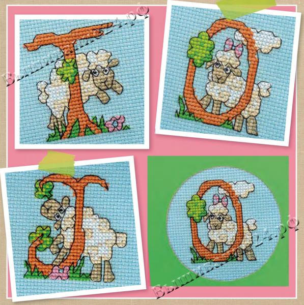 Схема вышивания крестом - Алфавит и цифры с овечками