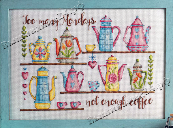"""Схема вышивания крестом - """"Кофейники"""""""