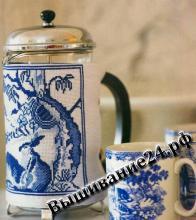 Схема вышивания крестом узор Для чайника, Гжель