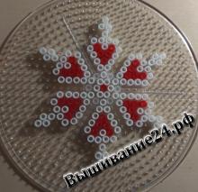 Снежинка с сердечками из термомозаики