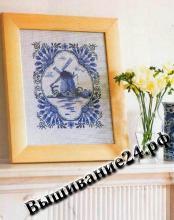 Схема вышивания крестом Картина Ветряная мельница, Гжель