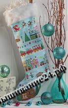 """Схема вышивания крестом - Новогодний носок """"Ночь перед Рождеством"""""""