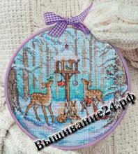 Схема вышивания крестом - Зимняя кормушка зверей
