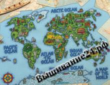 Схема вышивания крестом - Карта мира