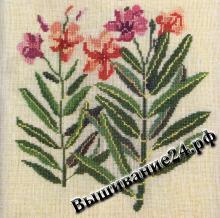 Схема вышивания крестом - Олеандр обыкновенный, цветы