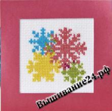 Схема вышивания крестом - Четыре снежинки